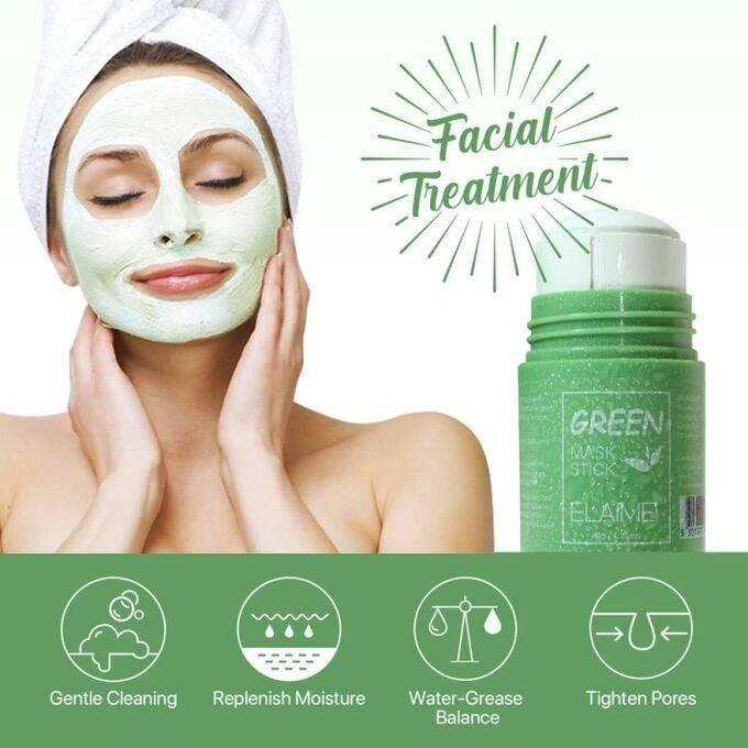 Venhali Глиняная маска стик для глубокого очищения и сужения пор с экстрактом зеленого чая 40 гр