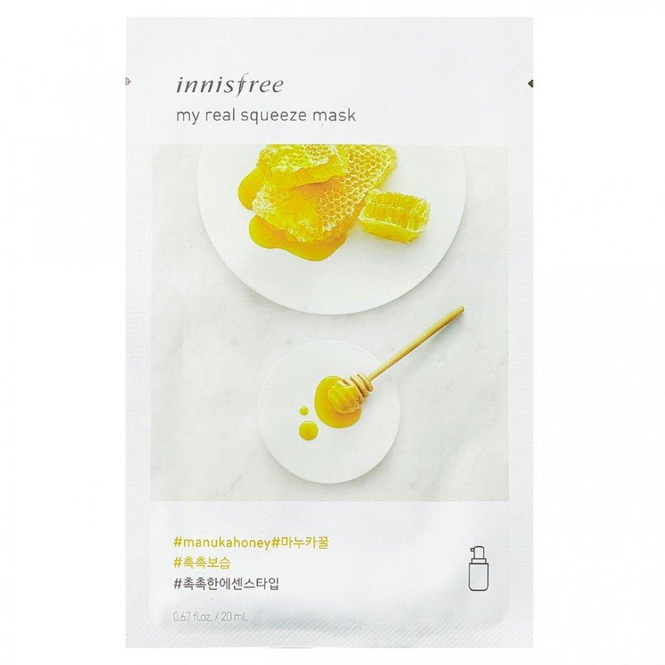 Маска на основе увлажняющей эссенции с экстрактом меда мануки INNISFREE My Real Squeeze Mask Manuka honey